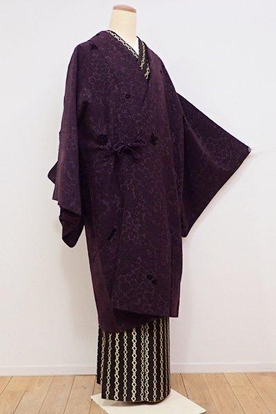 銀座【E-942】輪奈ビロード 道中着 滅紫色 牡丹や菊など