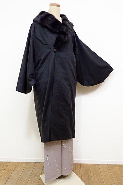 銀座【E-943】カシミヤ 和装コート 黒色 無地