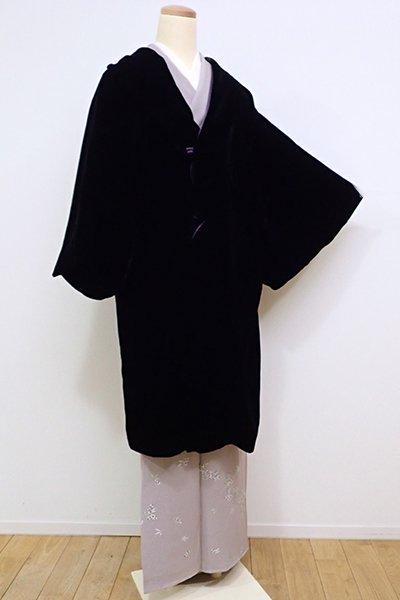 世田谷【E-945】ベルベット 和装コート 黒色 無地
