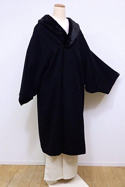 世田谷【E-946】撫松庵製 和装コート 黒色 無地
