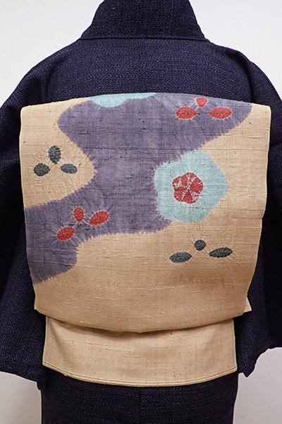 あおき【K-5695】紬地 絞り染め 名古屋帯 雄黄色 流水に花の図