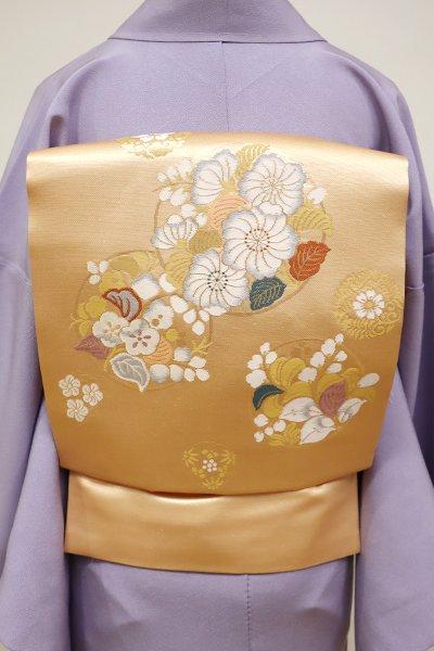 WEB限定【K-5697】織名古屋帯 洒落柿色 花の丸文