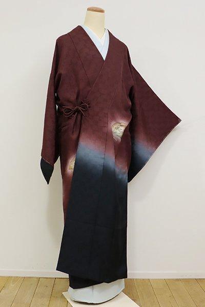 あおき【E-954】絵羽 道中着 葡萄茶色×藍鉄色 暈かしに檜扇の図