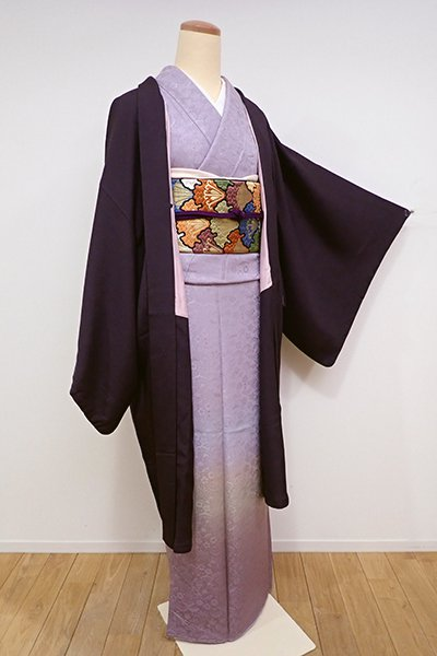 銀座【E-955】絵羽 羽織 似せ紫色 山葡萄の図