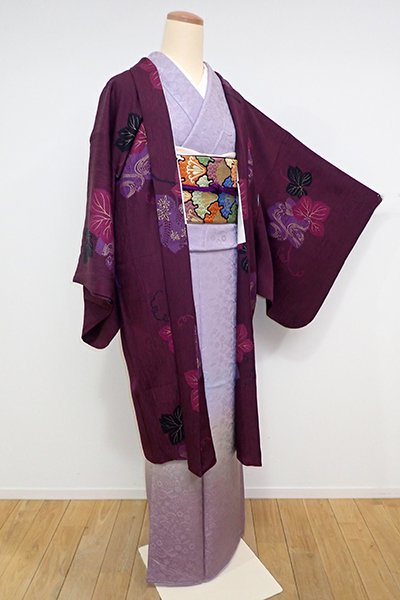 銀座【E-960】羽織 紫鳶色 葡萄の葉の図