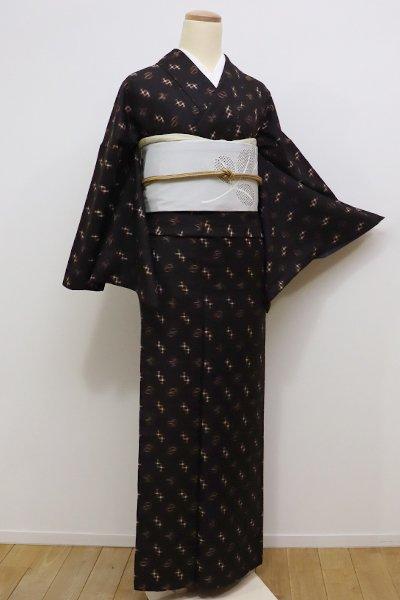 銀座【A-2661】↑Sサイズ↓久米島紬 黒鳶色 絣文