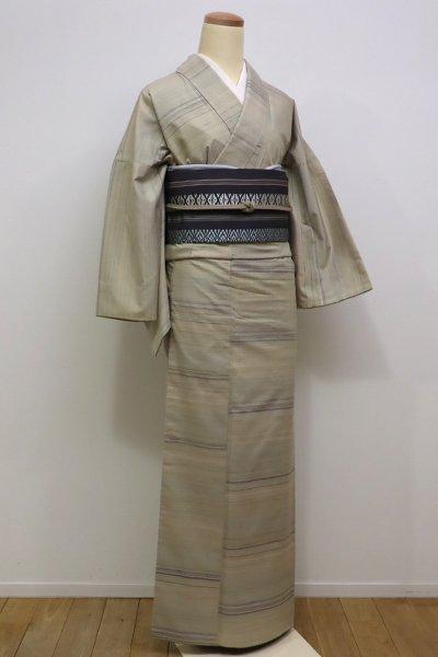 銀座【A-2663】紬 砂色 横段