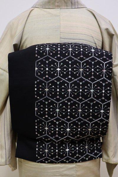 あおき【L-4185】紬地 洒落袋帯 黒色 亀甲繋ぎ文