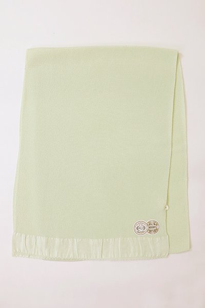 【R-88】正絹 縮緬無地帯揚げ 白緑