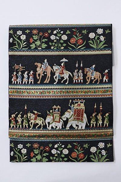 銀座【帯2867】西陣 服部織物製 袋帯 銘「インド更紗」