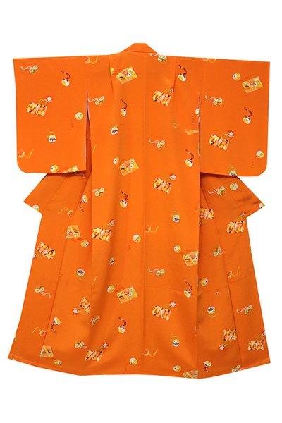 銀座【着物2336】銀座志ま亀製 十三詣り祝着 橙色 筥迫やお守袋 (しつけ付)