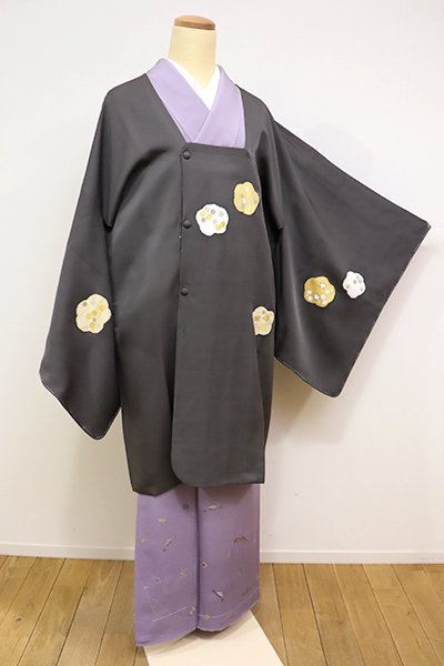 銀座【E-968】道行コート 鈍色 梅に橘や菊などの図 (千切屋治兵衛扱い)