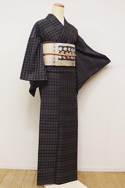 あおき【A-2669】(S・細め)吉野織 着物 黒色×紫色 段暈かしに格子文