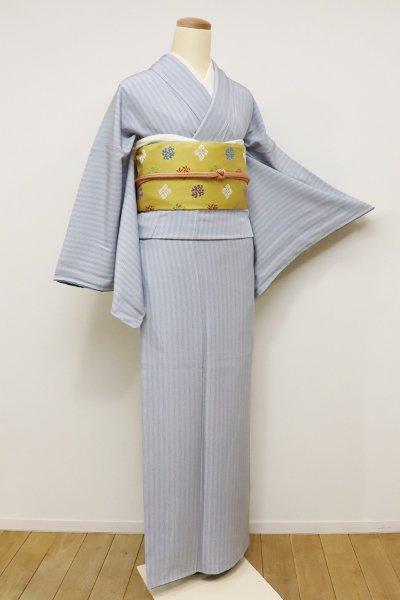 銀座【C-1510】江戸小紋 灰青色 滝縞(しつけ付)