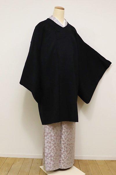 銀座【E-975】カシミヤ 千代田衿 和装コート 黒色 無地