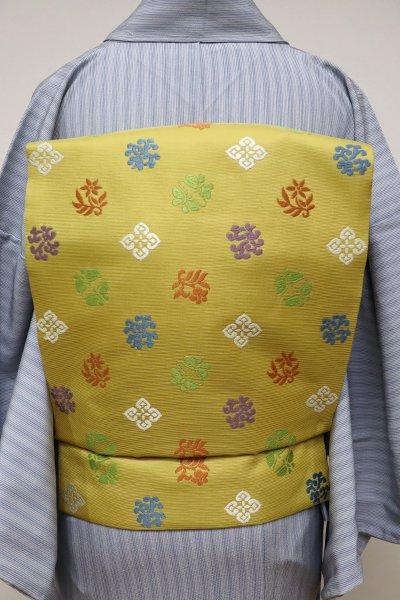 銀座【K-5717】西陣 川島織物製 織名古屋帯 辛子色 花蝶文 (落款入)