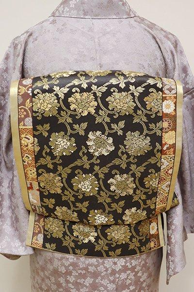 銀座【L-4196】西陣 加納幸製 袋帯 檳榔子染色×金色 牡丹唐草など(落款入)