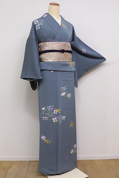 世田谷【B-2042】付下げ 藍鼠色 花枝の図