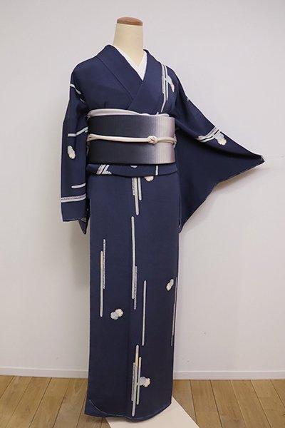 銀座【D-2086】縮緬地 小紋 青藍色 雪輪に霞文