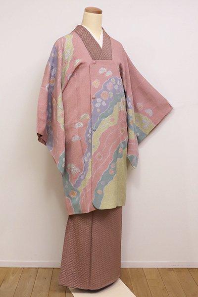 銀座【E-987】松井青々作 道行コート ときがら茶色 道長取りに梅や松など(落款入・反端付)