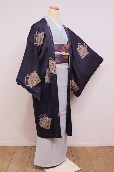 銀座【E-989】羽織 褐色 源氏香の図(しつけ付)