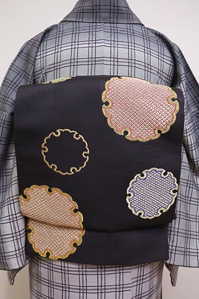 あおき【L-4198】袋帯 黒色 市松に雪輪文