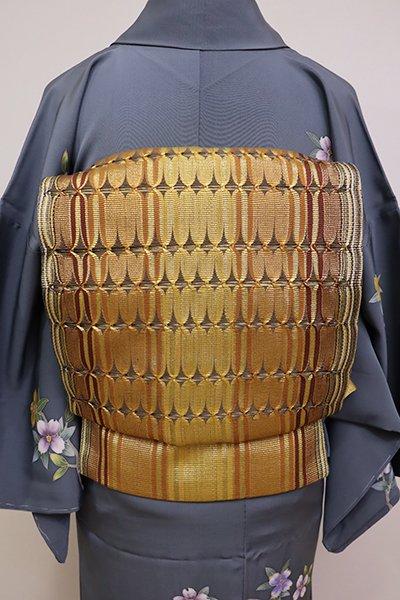 あおき【L-4201】組織り 袋帯 金色 縞