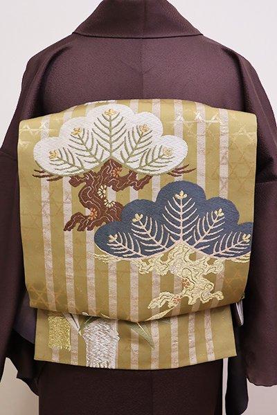 銀座【L-4203】袋帯 桑染色 縞に松竹文