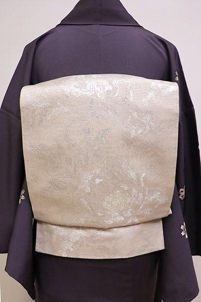 銀座【L-4204】紬地 袋帯 練色 牡丹唐草文