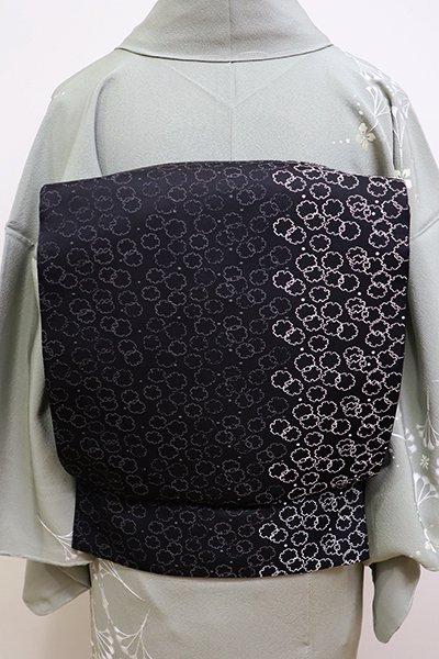 銀座【L-4207】西陣 加納幸製 袋帯 黒×銀 雪輪散らし (落款入)