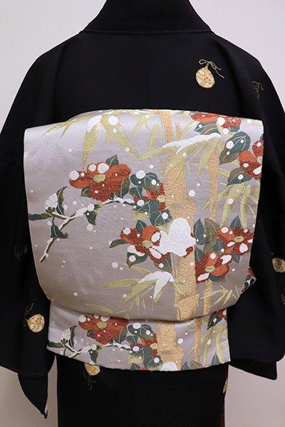 銀座【L-4209】袋帯 銀鼠色 雪持ち笹に椿の図