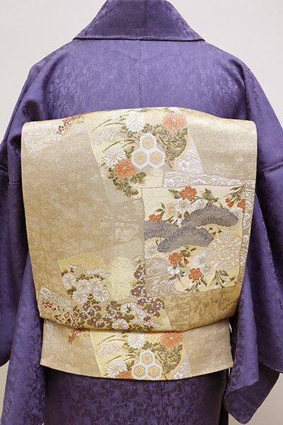 銀座【L-4212】西陣 加納幸製 袋帯 薄卵色 色紙重ね(落款入・証紙付)