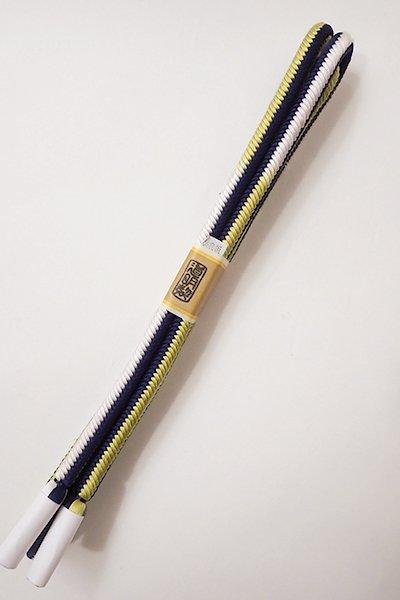 世田谷【G-1100】道明 帯締め 奈良組 藍×柳×白 (未使用・箱付)