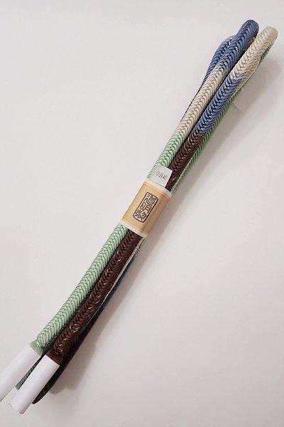 世田谷【G-1101】道明 帯締め 奈良組 四色段 薄青・茶 (未使用・箱付)