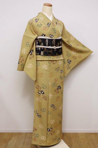 銀座【D-2093】小紋 芥子色 蝶々の図