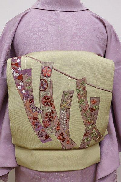 あおき【K-5729】刺繍 名古屋帯 蒸栗色 短冊の図(長尺)