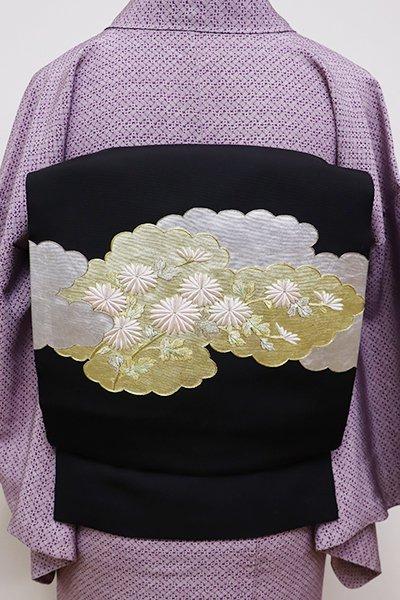 世田谷【K-5731】塩瀬 染名古屋帯 黒色 雲取りに菊の図
