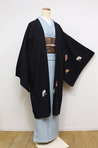 銀座【E-994】羽織 黒色 扇散らし(しつけ付)