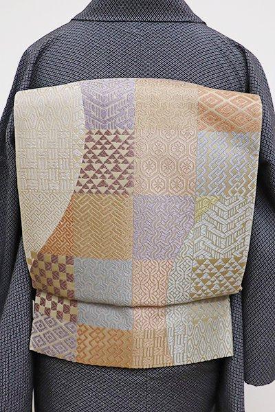 銀座【L-4218】袋帯 薄香色 多彩色 市松や円に割付文