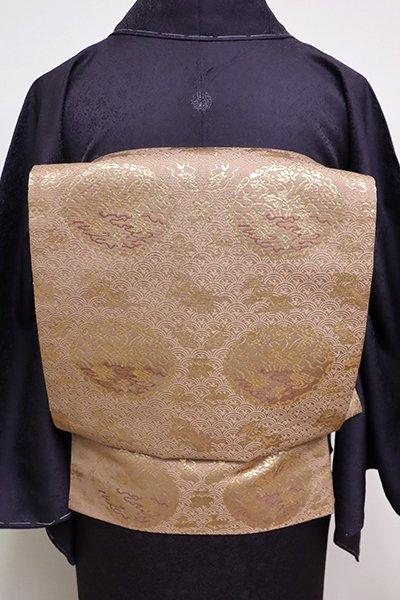 銀座【L-4222】龍村晋製 袋帯 ときがら茶色 「名物木下金襴」