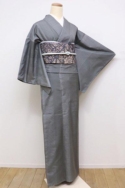 銀座【A-2673】大島紬 緑みがかった墨色 小絣竪縞
