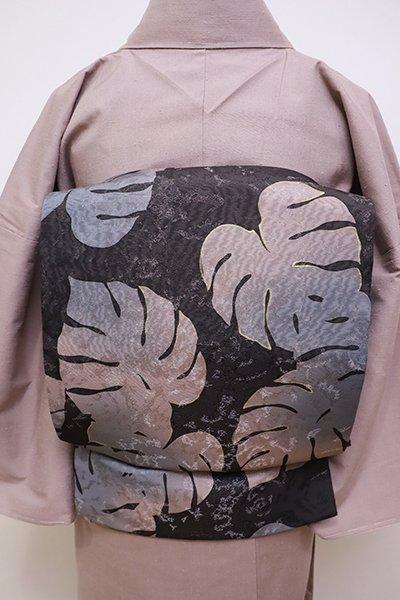 銀座【L-4226】洒落袋帯 黒橡色 モンステラの図