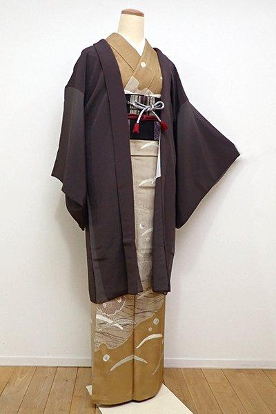 銀座【E-997】羽織 縮緬地 黒橡色×灰色 竪暈かし(羽織紐付・反端付)
