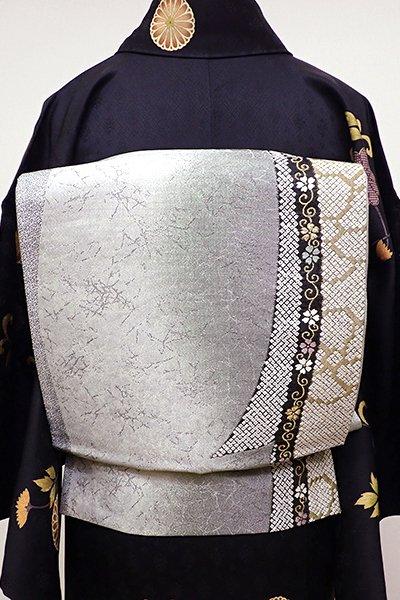 銀座【L-4231】袋帯 薄墨色 竪暈かしに鬘帯の図