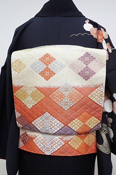 銀座【L-4232】袋帯 紫苑色×鉛丹色 段に花菱文