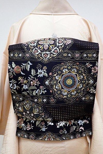 銀座【L-4234】袋帯 スワトウ刺繍 黒色 段に唐花や華文