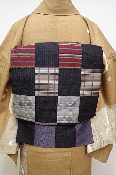 あおき【L-4235】西陣製 袋帯 黒色 市松取り名物裂文(反端付)