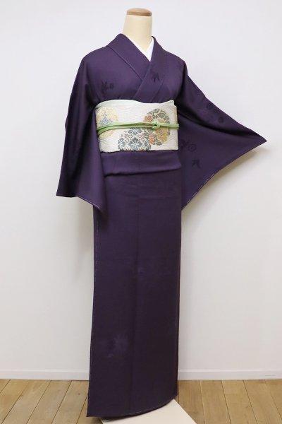 銀座【D-2097】↑Sサイズ↓切りビロード 小紋 深紫色 花唐草
