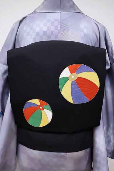 あおき【K-5744】塩瀬 染名古屋帯 黒色 紙風船の図
