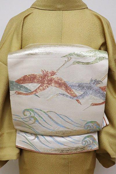 あおき【L-4236】たつむら製 本袋帯 白練色 「波上飛鶴文」